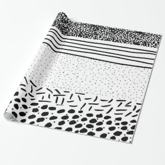 Modieuze zwarte witte hand getrokken cadeaupapier