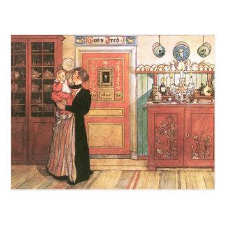 Moeder en Baby in de Keuken Briefkaart
