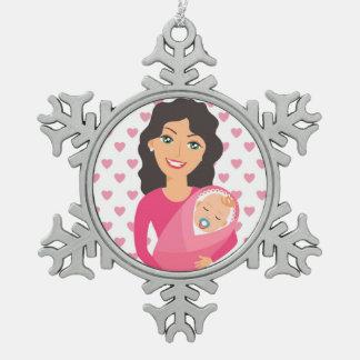 MOEDER EN BABY TIN SNEEUWVLOK ORNAMENT