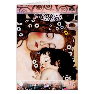 Moeder en Kind door Gustav Klimt Collage Notitiekaart