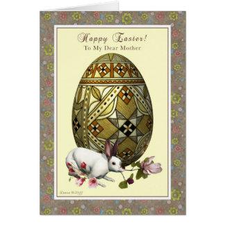 Moeder Gelukkige Pasen - Ei en Konijntje Kaart