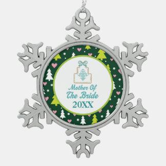 Moeder van de Gift van het Huwelijk van Kerstmis v Tin Sneeuwvlok Ornament