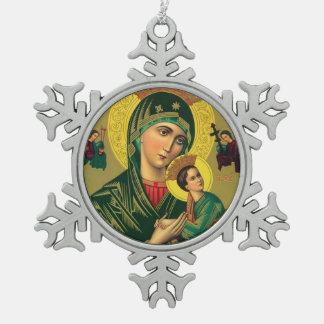 Moeder van Eeuwige Hulp Tin Sneeuwvlok Ornament