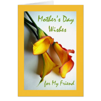Moederdag voor Vriend, Calla Lelies Wenskaart