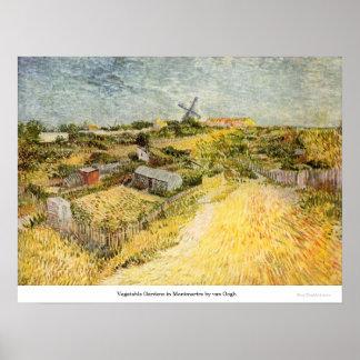 Moestuinen in Montmartre door van Gogh Poster