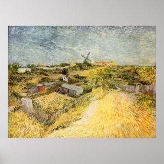 Moestuinen in Montmartre door van Gogh Print