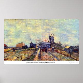 Moestuinen op Montmartre door van Gogh Poster