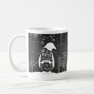 Mok - de scène van de Winter met pinguïn