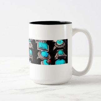 Mok, turkooise juwelen tweekleurige koffiemok