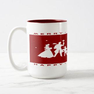 Mok van het Silhouet van vintage Kerstmis de Rode