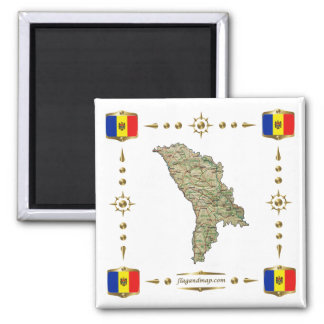 Moldova Kaart + De Magneet van vlaggen