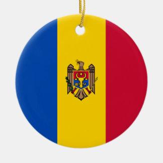 Moldova Vlag Rond Keramisch Ornament