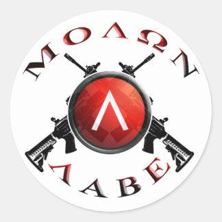 molon labe Spartaans schild Ronde Sticker