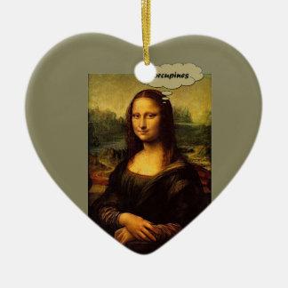 Mona Lisa Porcupines Keramisch Hart Ornament