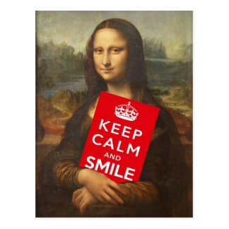 Mona Lisa Says Keep Calm en Glimlach Briefkaart