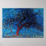 Mondrian - (Avond) Rode Boom Avond Poster