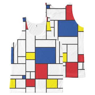Mondrian de Minimalist DE Stijl Modern Tanktop van All-Over-Print Tank Top