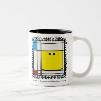 mondrian gelukkige gezichtsmok tweekleurige koffiemok