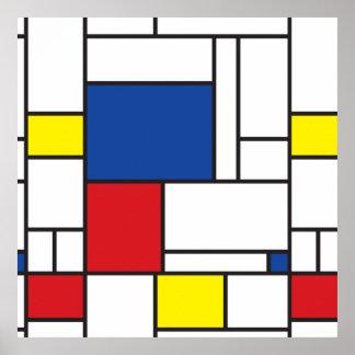 Mondrian het Minimalist DE Stijl Modern Poster van