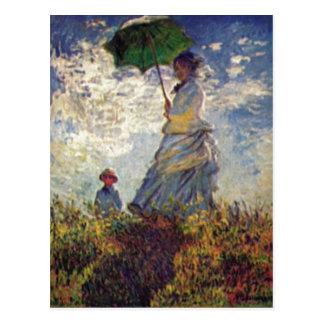 Monet, auf van Claude Camille Monet und Sohn Jean Briefkaart