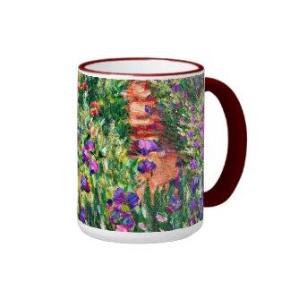 Monet - de Tuin van de Iris in Giverny Mok Gekleurder Rand En Oor