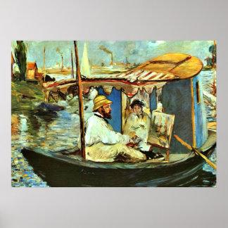 Monet in zijn Drijvende Boot van de Studio door Ed Poster