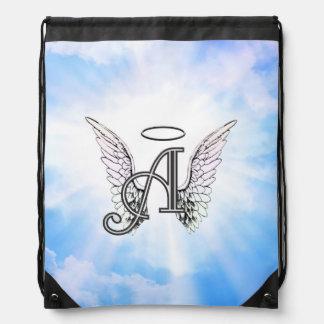 Monogram Aanvankelijke A, de Vleugels van de Engel Trekkoord Rugzakje