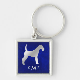 Monogram Blauw Zilveren Airedale Terrier Sleutelhanger