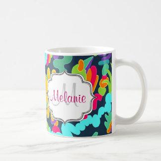 Monogram bloemen koffiemok
