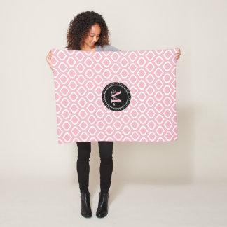 Monogram | Bord - het roze Witte Patroon van het Fleece Deken