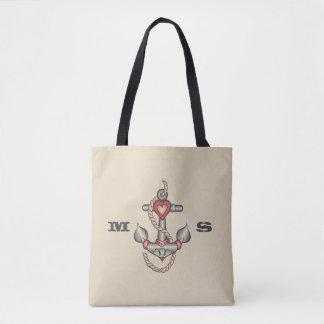 Monogram. De vintage ZeevaartTatoegering van het Draagtas