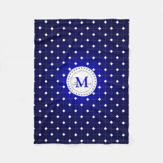 Monogram | Donkerblauw Wit Patroon Fleece Deken