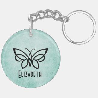 Monogram en Vlinder plus uw naam op rug Sleutelhanger