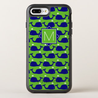 Monogram   Groene & Blauwe vinvissen OtterBox Symmetry iPhone 8 Plus / 7 Plus Hoesje