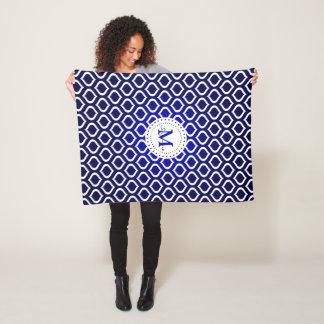 Monogram | het Donkerblauwe Witte Patroon van het Fleece Deken
