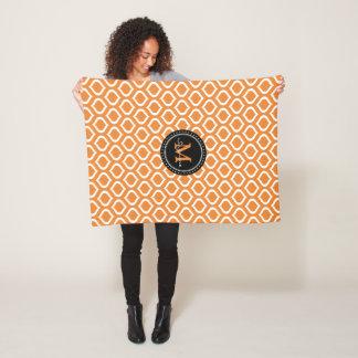 Monogram | het Oranje Witte Patroon van het Fleece Deken
