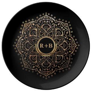 Monogram Mandala van het Huwelijk van Boho het Porseleinen Bord