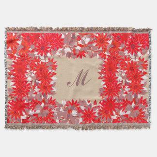 Monogram met bloemen wordt ontworpen - rood dat en deken