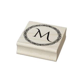 Monogram met Versierd Decoratieve Grens Rubberenstempel