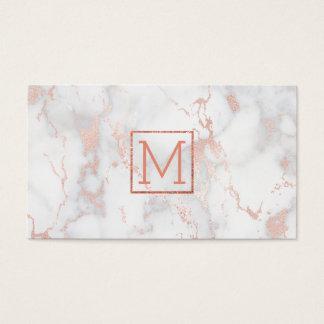 monogram op roze marmer visitekaartjes