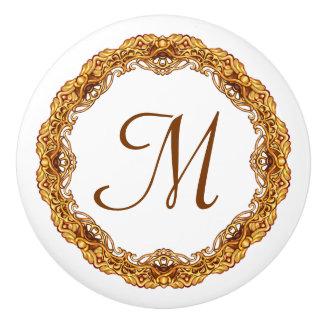 Monogram Twee het Gouden Vintage Retro Lijst van Keramische Knop