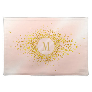 Monogram van confettien nam Gouden Folie ID445 toe Placemat