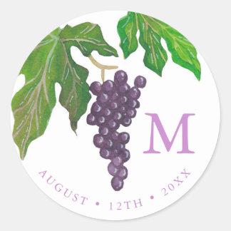 Monogram van de Druiven van de Partij van de wijn Ronde Sticker