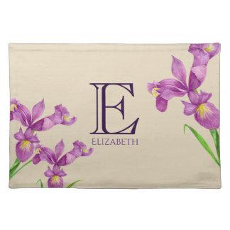 Monogram van de Paarse Iris van de waterverf het Placemat