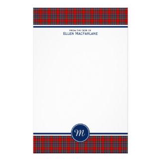 Monogram van de Plaid van het Geruite Schotse Briefpapier