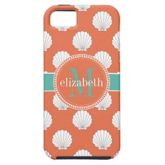 Monogram van de Zeeschelpen Clamshells van het Tough iPhone 5 Hoesje