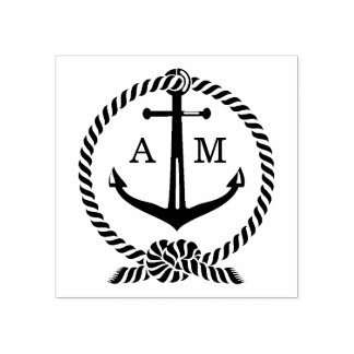 Monogram   van het anker Huwelijk Rubberenstempel