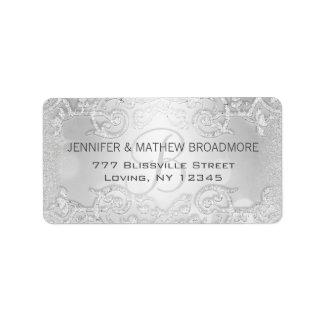 Monogram van het Etiket van het huwelijk het Addressticker