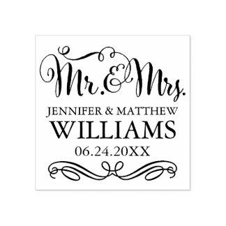 Monogram   van het huwelijk M. & Mevr. Rubberenstempel