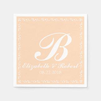 Monogram van het Huwelijk van de perzik het Witte Papieren Servet